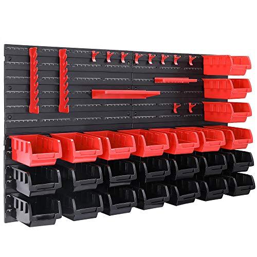 Deuba Wandregal mit Stapelboxen und Werkzeughalter 45 tlg Box Erweiterbar Werkstattregal Werkzeuglochwand -