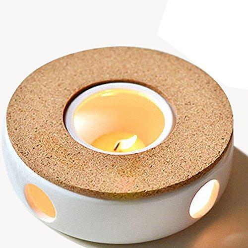 TAMUME Klassisches Porzellan Teekanne Wärmer mit Sicher zu benutzen Korkständer für Teekanne, Tee wärmer mit Kerzenzimmer, Teelichthalter - Große Keramik Tee-kanne