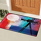 Cinema Front Door Mat Carpet Colorful Projector Silhouette with Movie Reel Vintage Design Entertainment Theme Machine Washable Door Mat Multicolor 16x24(in)...