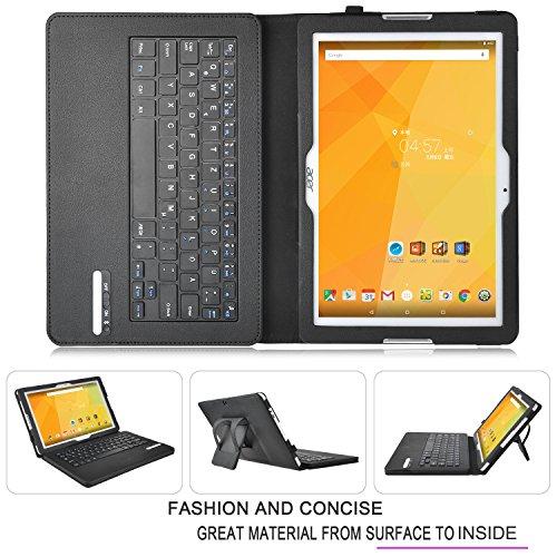 IVSO Acer Iconia One 10 (B3-A20) Bluetooth Tastatur (QWERTZ Tastatur)-mit Standfunction , Abnehmbare Wireless Bluetooth Tastatur Schutzhülle NUR geeignet für Acer Iconia One 10 (B3-A20) 25,7 cm (10,1 Zoll) Tablet-PC, Tastatur-Schwarz