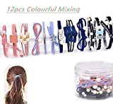 12Pcs Girls Women Pearls lucky Bowknot Flower Hair Accessories Elastic Hair Ties Hair Ropes Fashion Headbands Ponytail Holders Hair Rings Hairband (Mixed Colors)