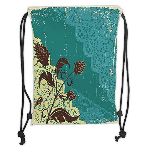 Drawstring Backpacks Bags,Vintage,Flower Decorations Lacework Old Aged Distressed Antique Display,Teal Light Yellow Dark Brown Soft Satin,5 Liter Capacity,Adjustable String Closure - Distressed Hobo
