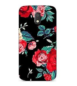 FUSON Fresh Red Roses Background 3D Hard Polycarbonate Designer Back Case Cover for Motorola Moto E3 :: Motorola Moto E (3rd Gen)