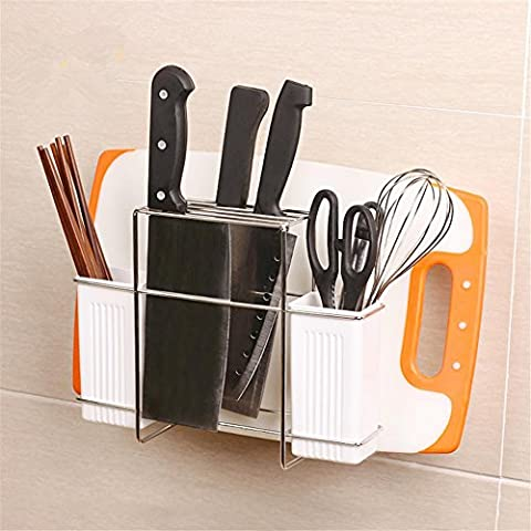 Muzyo Wall Mounted Self-Adhesive Suction Cup Stainless Steel 304 Cutting Board Rack Kitchen Storage Knives Block