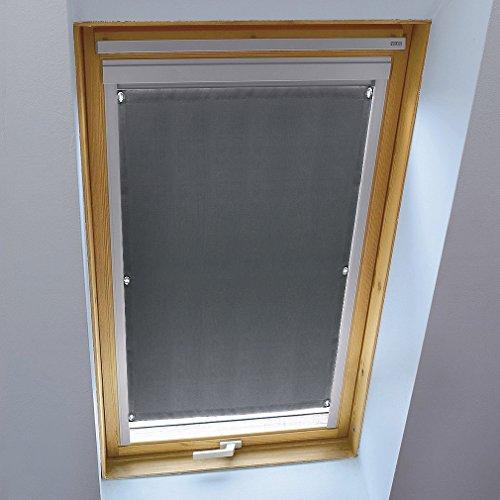 KINLO Dachfensterrollo für Velux Dachfenster 96 x 100cm dunkelgrau Beschichtung Verdunkelungsrollo Sonnenschutzrollo aus Polyester mit Saugnäpfe ohne Bohren 100% blickdicht