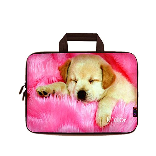 iColor Hund Netbook- und Chromebook- Tasche Notebooktasche Laptoptasche Schutzhülle für Größe 11,6 12 12,1 Zoll) mit Tragegriff DEIHB12