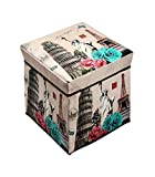 GTC Storage Box PORTABLE & FOLDABLE LAUNDRY BOX CUM SITTING STOOL Folding /sitting stool/stool/pouffes for living room/puffy stool (Statue of liberty)