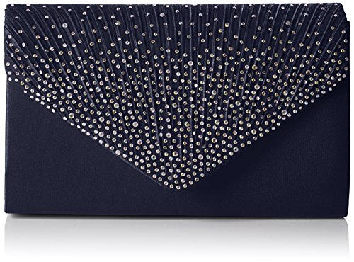 Swankyswans Damen Abby Diamante Envelope Style Bag Tasche, Blau (Navy Blue), One Size -