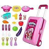 Xyanzi Kinderspielzeug Kinder Küche Spielzeug Set Simulation Geschirr Kochen Jungen Und Mädchen 3-6 Jahre Alt Kinder Trolley (Farbe : Pink)