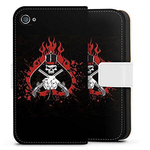 Apple iPhone X Silikon Hülle Case Schutzhülle Totenkopf Feuer Pik Sideflip Tasche weiß