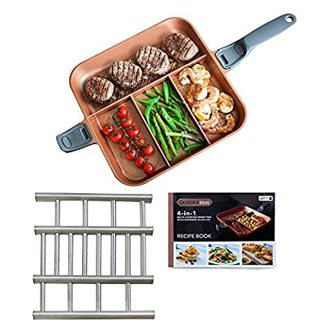 QuadraPan Professional 4-in-1 Non-Stick Multi-Compartment Divided Frying Pan with Removable Handles Glass Lid and Serving Trivet Copper / Charcoal (As Seen On High Street TV)