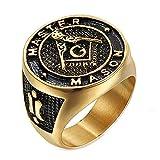 LANCHENEL Titan Stahl Masonic AG Logo Persönlichkeit Punk Ringe für Herren,Größe 70(22.3)