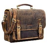 STILORD 'James' Leder Business Aktentasche für Herren Damen Vintage Umhängetasche mit 14 Zoll Laptop Fach große Ledertasche für Lehrer Büro und Arbeit, Farbe:mittel - braun