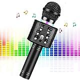 Microfono Karaoke Bluetooth Wireless, FishOaky 4.1 Portatile Microfono Karaoke Bambini con Altoparlante, KTV Karaoke Player per Cantare, Funzione Eco, Compatibile con Android, PC or Smartphone (black)