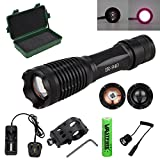 """MODEL 710 940NM LED Infrared Torch � Outdoor IR Flashlight - Long Range Infrared Illuminator + Recharge Battery + Charge + Remote Pressure Switch+ 1"""" Scope Ring Set, Side Mount(All-in-One Kit)"""