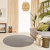 Schlingen Teppich Snake rund - Farbe wählbar | Geprüfte Qualität: schadstoffgeprüft antistatisch robust und pflegeleicht | u.a. für Wohnzimmer Schlafzimmer Flure und auch für Fußbodenheizung geeignet, Farbe:Hellbraun, Größe:200 cm rund