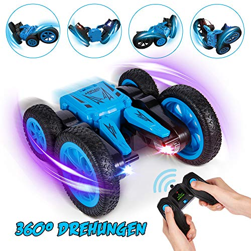 Crenova Ferngesteuerte Autos für Kinder 1:24 4WD Allrad Stunt Spielzeugauto, 7km/h Doppelseitiges Fahren 360° Drehung, 2,4GHz Wieder aufladbares ferngesteuertesAuto mit bunten LED-Scheinwerfern