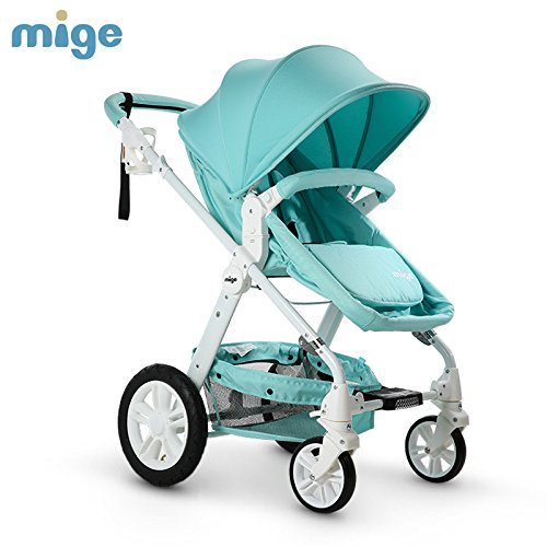 MIGE HIGHVIEW FOLDING BABY STROLLER FOR 0-36 MONTHS BABY SITTING & LYING  BABY CARRIAGE  PUSHCHAIR  PRAM  BIDIRECTIONAL  PNEUMATIC & SUSPENSION WHEELS