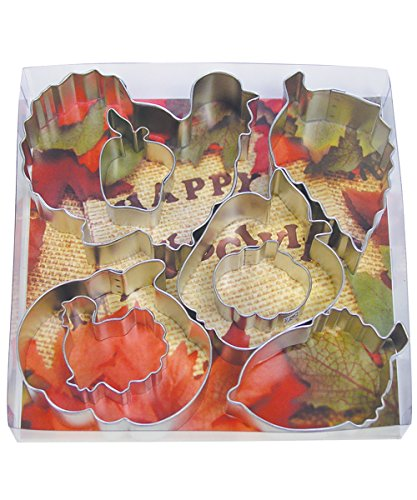 R&M International 1931 Thanksgiving Harvest Cookie Cutters, 2 Turkeys, 2 Pumpkins, 2 Apples, Acorn, Aspen Leaf, 8-Piece Set