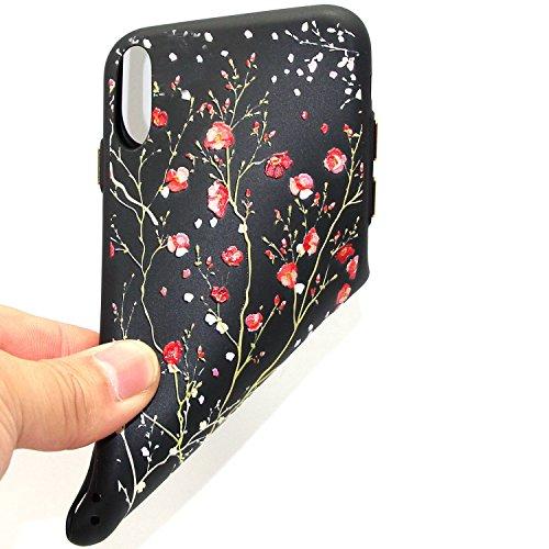 Cover iPhone X,Custodia iPhone X,Custodia iPhone X Cover,ikasus® Cover custodia iPhone X disegno colorato TPU con 3d arte pittura floreale fiore fiori ciliegio girasole modello Custodia Cover [Shock-A Fiore #2