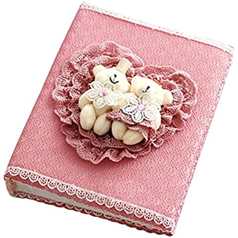 """OMYZON 7""Album fotografico Album di foto Aristocratica Corte Style Collection version album cuore cuori Bean Sand Bears Luxury Photo Album 29 * 21,5 cm / 11,42 * 8.46 "" 1PCS rosa """