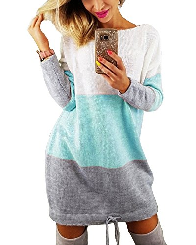 Minetom Damen Rundhals Strickkleid Stricksweat Frauen Stricken Langarm Lose Pulloverkleid Casual Mini Kleid Sweatkleid Blau DE 38 (Pullover Kleid)
