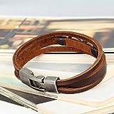 Flongo 2 Stück echtleder unendlichkeitszeichen armband braun