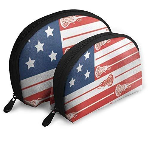 USA Lacrosse Sticks Flag Portable Reise-Kosmetiktaschen Organizer Set of 2 for Women Teens Girls -