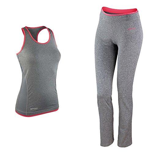 Preisvergleich Produktbild Damen Frauen Profi ogging Fitness Set S Top + Hose Training Outfit Sport grau pink