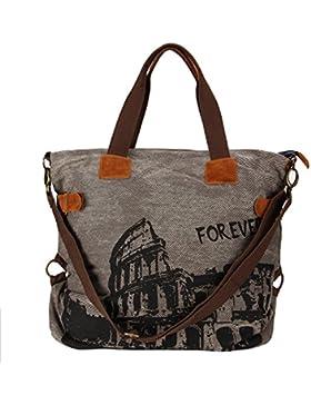Très Chic Mailanda Canvas Shopper Schultertasche XXL Henkeltasche mit Colosseum 55x41x17cm