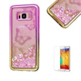 For Samsung Galaxy S8 Plus Case Cover, Funyye New Creative Floating Water Liquid Small Love Hearts Design Luxury Sparkly Lovely (Pink to Gold) Electroplate Plating Frame Crystal Design for Samsung Galaxy S8 Plus- Butterfly Flower