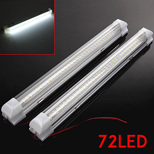 2PCS 12V 72 LED Car Strip Lights Interior White Bar Lamp Van Caravan Decortion