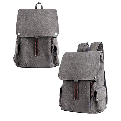 Asdomo uomini ragazzi leggero zaino di viaggio zaino viaggio borsa a tracolla zaino impermeabile per escursionismo, lavoro, per la scuola, Dark khaki Grey