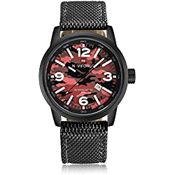 Qingmei NAVIFORCE Men Military Analog Quartz Date Camouflage Round Dial Canvas Band Watch Red