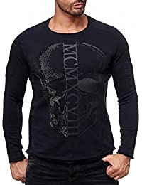 Redbridge Herren Pullover Sweatshirt Baumwolle Totenkopf Motiv mit Strass Print M2133