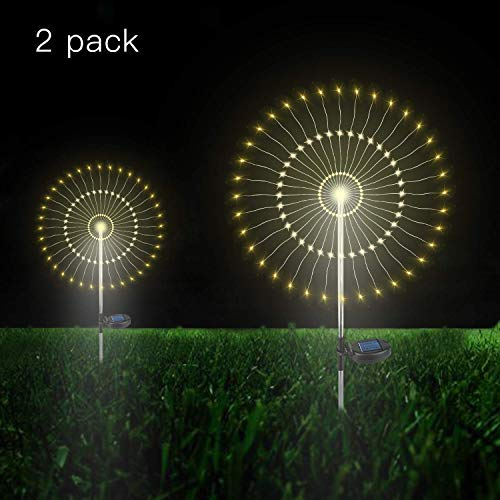 Solarleuchte Garten, 105 LED Solar Feuerwerk Licht, DIY Draussen Landschaft Licht Wetterfest Dekoratives für Garten Rasen Feld Terrasse Weg (Warmweiß, 2 Pack) ...