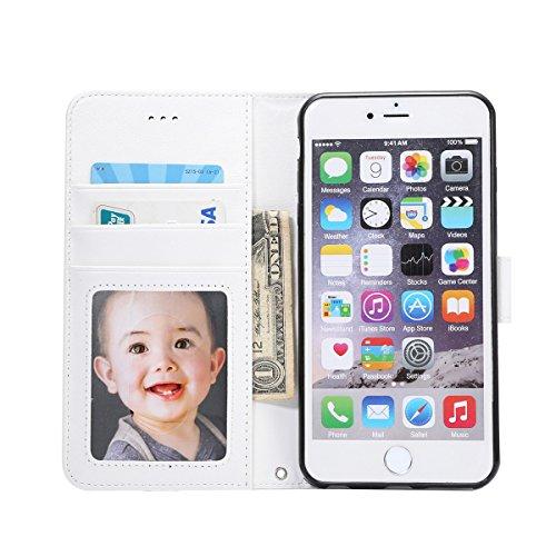 iPhone 6 Plus / iPhone 6s Plus Handycover, LifeePro für iPhone 6 Plus / iPhone 6s Plus Crazy Horse Pattern PU Leder Brieftasche Handycover mit Flip Stand Funktion Fotorahmen und Kartensteckplätze TPU  Weiß