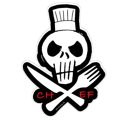 Preisvergleich Produktbild Koch Chef Schädel Skull Küche Kochen Aufkleber Autoaufkleber Sticker Decal