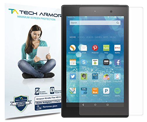 "Tech Armor Amazon Kindle Fire HD 8"" - Displayschutz - Entspiegelung & Anti-Fingerabdrucke - Scharfe & Touchscreen-Genauigkeit - Lebenslange Garantie ? 2 Stuck"