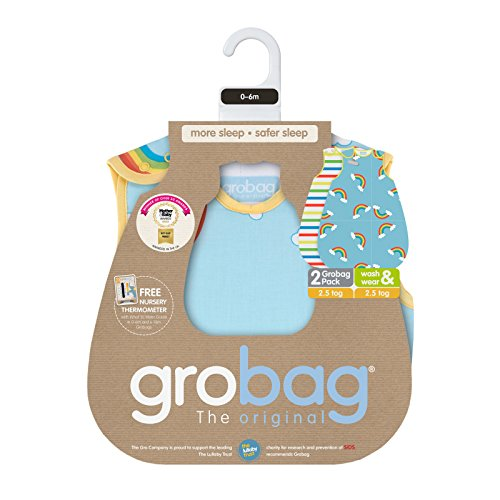 The Gro Company Rainbow Stripe Grobag Baby Sleeping Bag Wash and Wear Twin Pack, 18-36 Months, 2.5 Tog