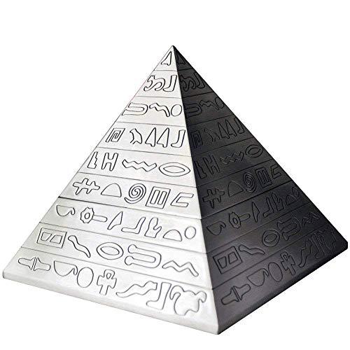 YJY^MAX Pyramide Aschenbecher mit einem Deckel,Retro Zigarre Zigaretten Aschenbecher Carving Windaschenbecher Ascher Aufbewahrungsbeutel Home Decor Geschenk Bar für Männer Raucher silber