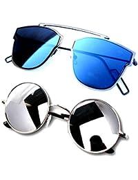 Y&S Wayfarer Cateye Girl's Sunglasses Combo(Desbm-Rdssm| 55| Blue)