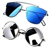 Y&S Unisex Combo Of 2 Sunglasses ( Bik-Cm-Ysdisbm-Ysrdssm ,Blue)