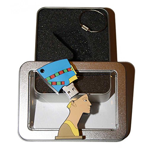 Preisvergleich Produktbild Souvenir Berlin Nofretete | Geschenkidee: USB-Stick mit Schlüsselanhänger in Form der Königin Nofretete für Frauen u. Männer | inklusive Fotogalerie von Berliner Sehenswürdigkeiten | Memory Stick 2 GB | CultourStix