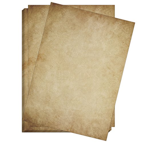 50 x Briefpapier Vintage DIN A4 - beidseitig Altes Papier/Antik Retro Look