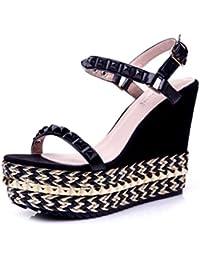 KaiGangHome Sandalen Fashion Hang mit wasserdichter Plattform Schuhe Strass Plattform Sandalen Stroh dicke Plattform...