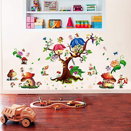 ufengke Wandtattoos Fee Garten Wandaufkleber Wandsticker Baum Pilz Haus Wandbild für Schlafzimmer Kinderzimmer Mädchen