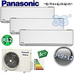 CLIMATIZZATORE TRIAL SPLIT ETHEREA R32 PANASONIC NUOVA SERIE Z - 9000+9000+12000 BTU A+++
