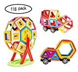 Magnetische Bausteine , FLYTON 118tlg mini Magnetische Bauklötze , Kreative und Pädagogische Spielzeuge für Baby & Kleinkinder ab 3 Jahre Haus Turm Auto mit Räder