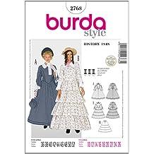 326480411008 Burda B2768 - Cartamodello per realizzare vestito da donna lungo stile  nobildonna